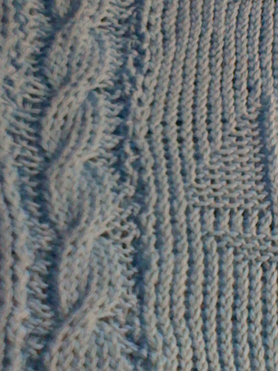 baby blue knit afghan with cables and sailboats - soft, machine washable