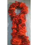 Hand knit frilly ruffle knit multi-colored red fashion scarf - $20.00