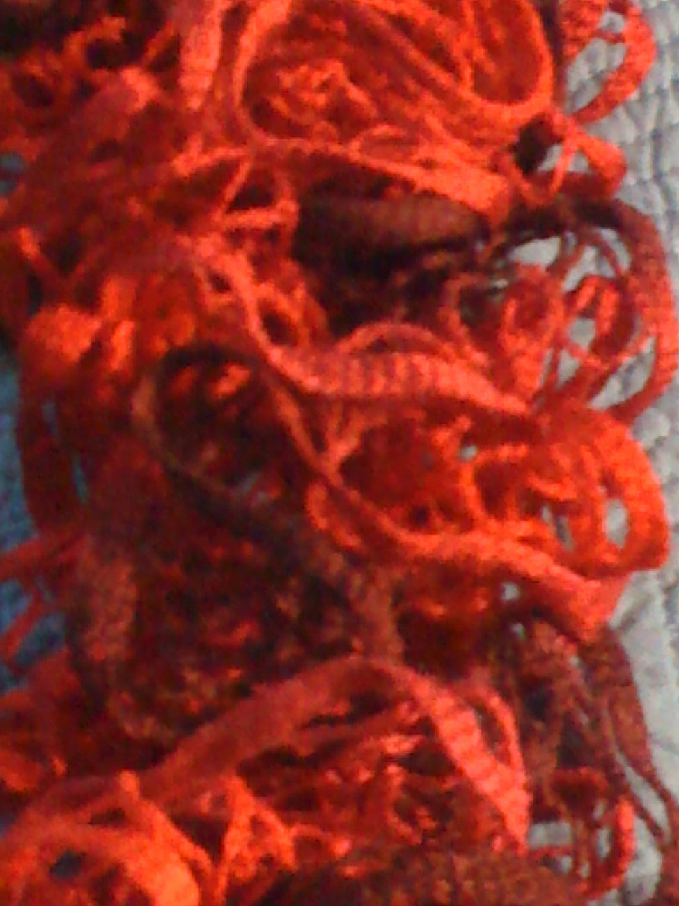 Hand knit frilly ruffle knit multi-colored red fashion scarf