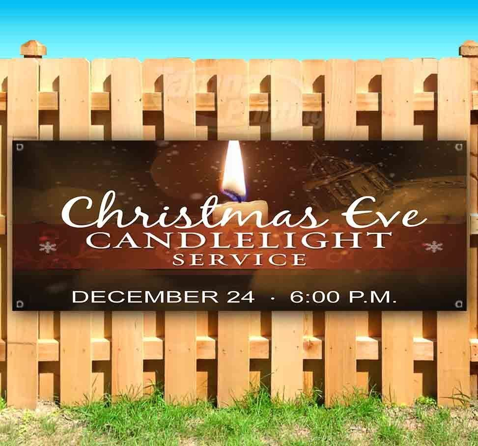 CHRISTMAS EVE CANDLELIGHT SERVICE Advertising Vinyl Banner Flag Sign Many Sizes