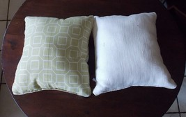 Pair of Green Cream Abstract Print Throw Pillows  12 x 12 - $29.95