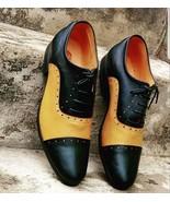 Handmade Men Black & Yellow Leather Heart Medallion Laseup Shoes - $134.99+