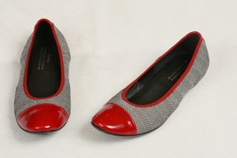 DONALD J PLINER Womens Black Herringbone Cloth Red Patent Leather Flats ... - $39.60