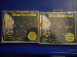 2002/ 2 SETS OF SIX (6) WINE BOTTLE RING SILVER COLOR METAL CHARMS, NEW... - $20.06