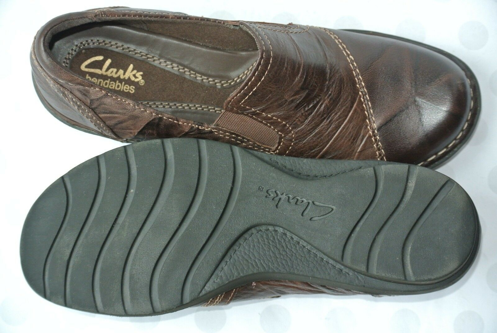 Clarks Bendables Womens Sz 7 M Brown Leather Comfort Slip On Flats NICE!!