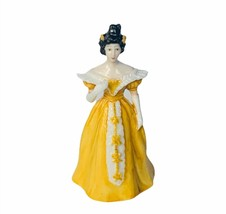 Franklin Mint ladies of Fashion miniature figurine vtg porcelain Sophia yellow - $23.17