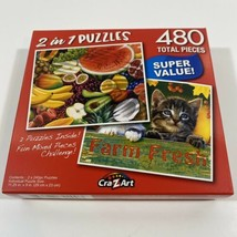 """2 IN 1 PUZZLES 480 PIECES, Fresh Fruits, Farm Fresh Tabby Kittens 11.25""""... - $10.38"""