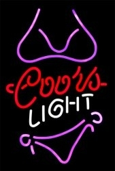 Coors Light Purple Bikini Beer Club Bar Neon Sign 17