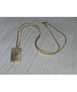 Vintage Reed & Barton Damascene Marked Rectangle Butterfly Pendant on Go... - $13.99