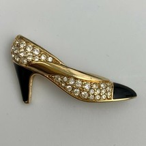 Swan Signed Swarovski Rhinestone Black Enamel Shoe Brooch Pin High Heele... - $24.70
