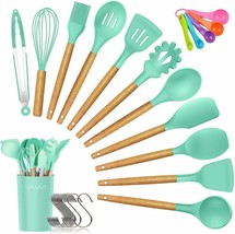 12 PCS Silicone Cooking Utensils Kitchen Utensil Set, Bamboo Wooden Green - £33.66 GBP