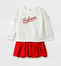 Baby Girls' 'Believe' Holiday Tutu Top & Bottom Set - Cat & Jack™ Cream/... - $11.87