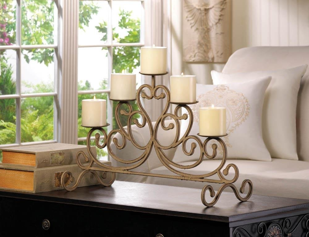 Standing Candle, Antique Iron 5-candle Decorative Table Candle Stand