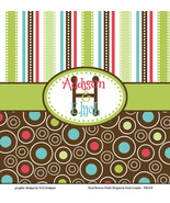 Mod Brown Multi Stripes and Dots Shower Curtain - CUSTOM Personalized - $78.00