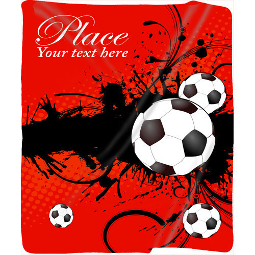Personalized Soccer Plush Fleece Blanket - Your Name/Text