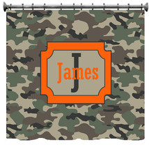 Personalized Camouflage Army Green Shower Curtain - $78.00