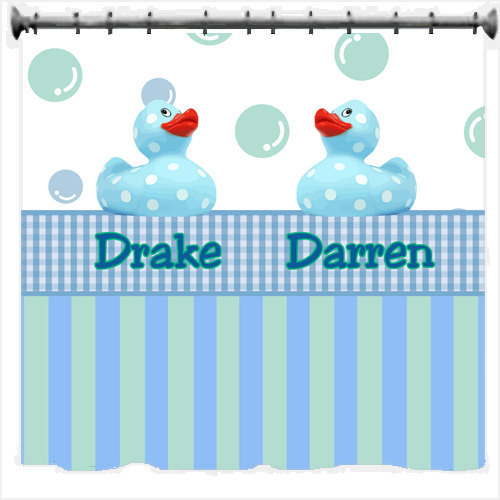 Personalized Dotty Duck Shower Curtains - Blue or Pink theme