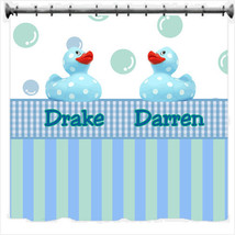 Personalized Dotty Duck Shower Curtains - Blue or Pink theme - $78.00