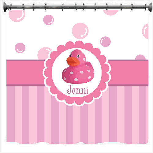 Personalized Dotty Duck Shower Curtains - Blue or Pink theme image 2
