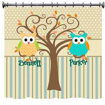 Mod Tree Owl Shower Curtain - Shared Bathrooms - $78.00