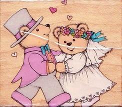 Hero Arts Dancing Wedding Teddies Mounted Rubber Stamp C 655 1992 - $3.46