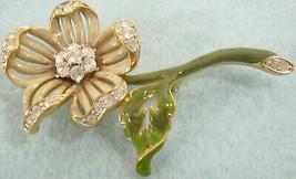 Vintage Enamel Nolan Miller Rhinestone Flower Brooch Pin Beige Tan Glamo... - $18.32
