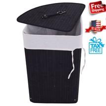 Laundry Basket Wheels Hamper Corner Black Bamboo Storage Organizer Bin 5... - $35.42
