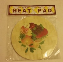 1 Natural Bamboo Heat Pad, Kitchen Decor, FRUITS # 3, round - $8.90