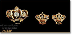 Vintage Crown Shaped Pin and Matching Earrings (#J1320) - $38.00