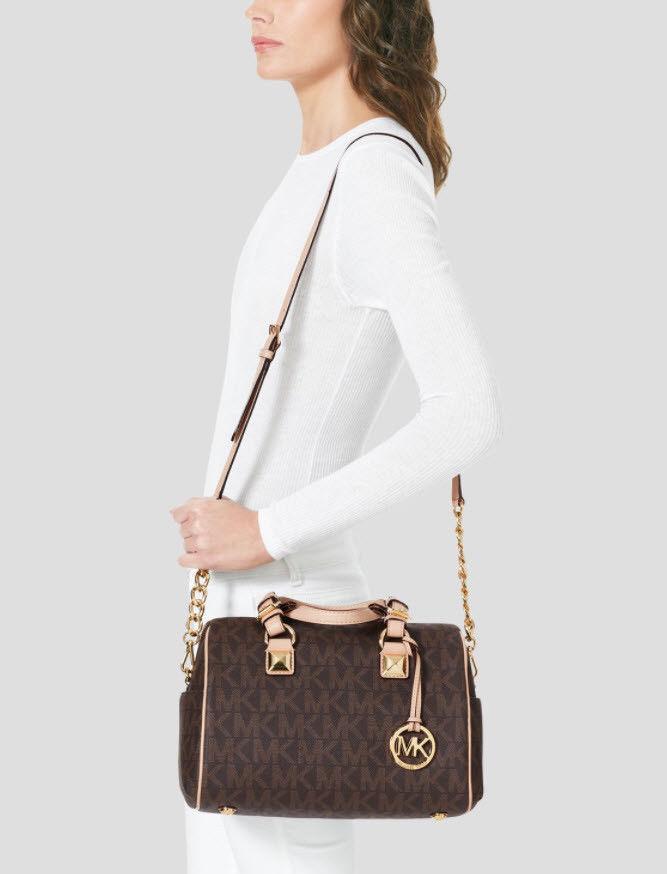 cc09d4da77ea ... promo code for michael kors grayson satchel tote md chain signature  vanilla brown plum black fc535