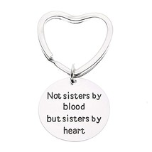 Best Friends Keychain- Womens Not Sisters By Blood But Sisters By Heart ... - $9.99