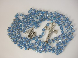 15 decade Blue Glass Bead Rosary 57 inches 8mm w/ relic Crucifix - large... - $49.56