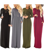 Women Long Sleeve Maxi Dress with Pockets Plain Loose Swing Casual Long ... - $32.78