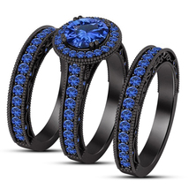 14k Black Gold Over 925 Sterling Silver Wedding Ring Set Blue Sapphire Free Gift - $139.99