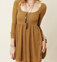 Free People Gold Lame Metallic Fit & Flare Shimmer Skater Party Shirt Dress L - $18.70