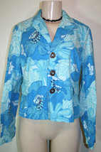 Tommy Hilfiger Sz M Blue Floral Print Casual Stretch Cotton Jacket - $8.23