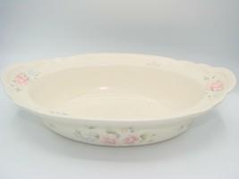 """Pfaltzgraff Pink Blue Flowers TEA ROSE Oblong Oval Vegetable Serving Bowl 13"""" - $35.52"""
