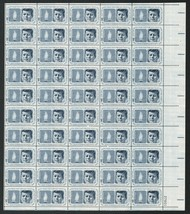 1964 Kennedy Memorial Sheet of 50 US Postage Stamps Catalog Number 1246 MNH