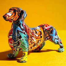 Creative Painted Colorful Dachshund Dog Decoration Home Modern statue figure - $42.27+