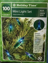 3 boxes: 100 Blue Mini Lights Wedding Xmas 21.5 ft Green Wire by Holiday... - $20.47