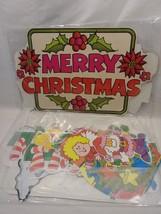 VINTAGE CHRISTMAS SANTA ANGEL WREATH CARDBOARD CUT OUTS NIP NOS GOOFY S... - $20.00