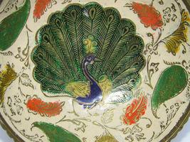 Vintage Brass Ornate Peacock Enameled Bowl on Pedestal image 6