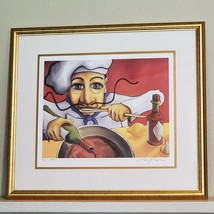 Eduardo by Will Rafuse Chef in Kitchen COA Framed ART Print 28x25 Inch 3... - $1,140.00