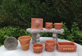 Miniature Dollhouse FAIRY GARDEN Accessories ~ Set of 7 Assorted Pots ~ NEW - $17.99