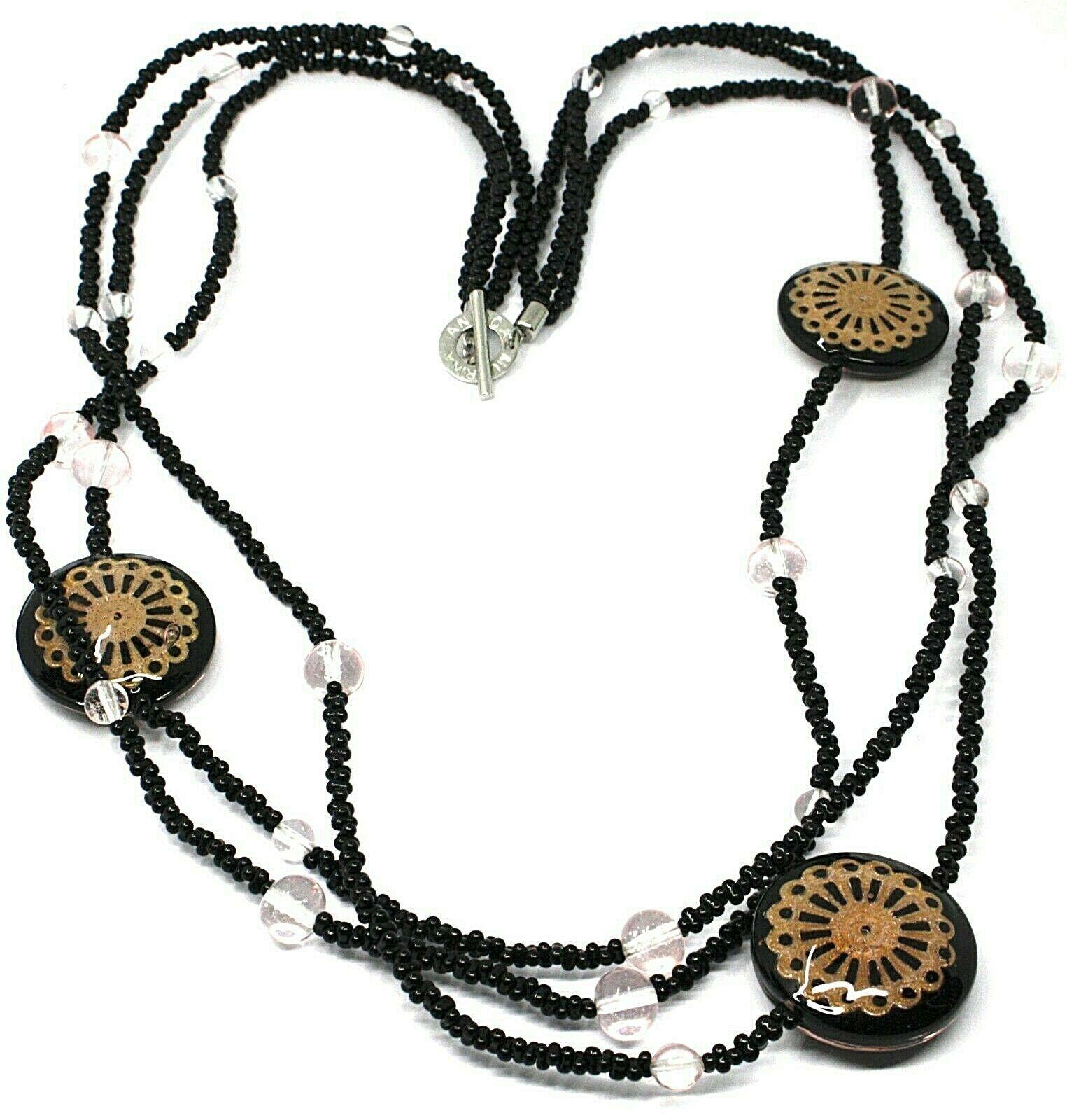 Necklace Antica Murrina Venezia, 3 Wires, Discs with Flowers, Black, CO724A14