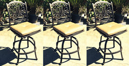 Outdoor bar stools set of 3 swivel patio aluminum furniture Elisabeth Bronze image 3
