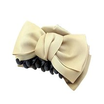 [Set Of 2] Handmade Bowknot Jaw Clip Hair Styling Claws, 3.7 inches, KHAKI
