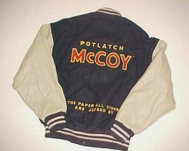 Potlatch McCoy Paper Adult Unisex Black Wool Leather Varsity Letterman Jacket M - $69.29