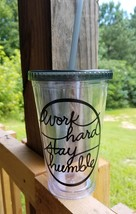 Work Hard Stay Humble Tumbler With Straw, 16 oz. Tumbler, Tumbler With S... - $6.00