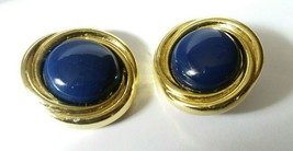 "Vtg Fashion Earrings 80's 90's 1 1/4"" D Blue Gold Tone Dynasty Post Earr... - $5.93"